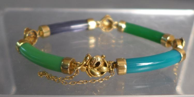 Chinese Multi Color Jade Bar Link Bracelet