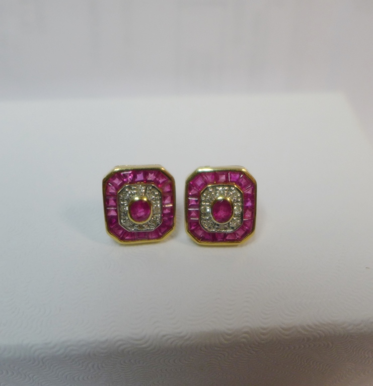Diamond, Pink Gem Stone & Gold Earrings