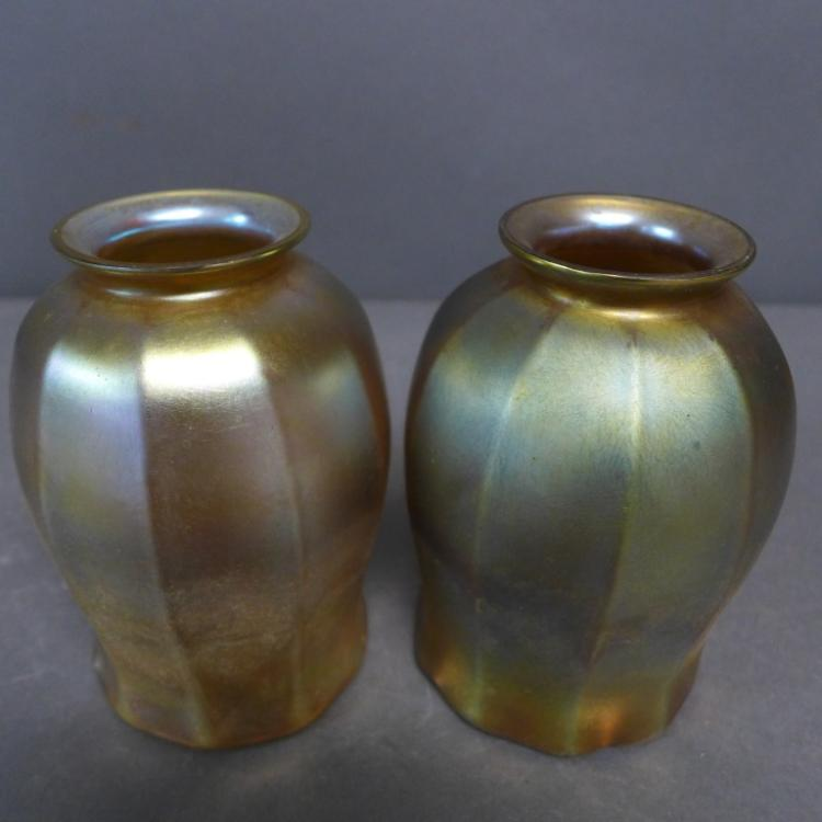 Pair Louis Comfort Tiffany Favrile Tulip Shades