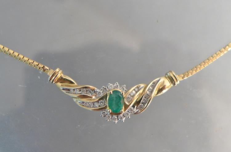 Diamond, Emerald & Gold Necklace