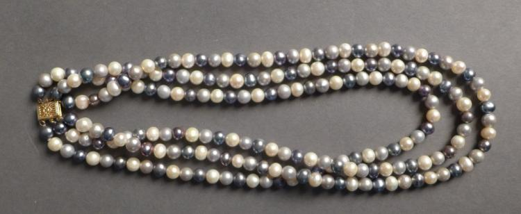 Multi-Colored Three Strand Pearl Necklace