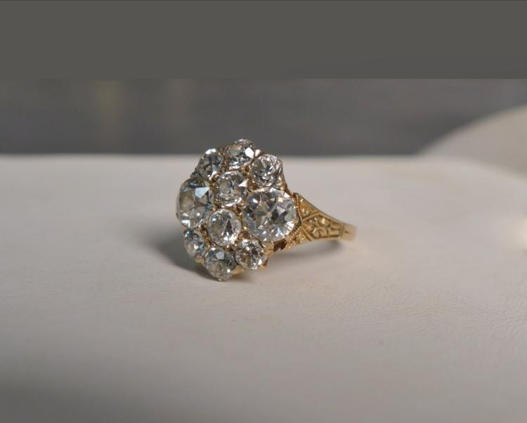 Diamond Cluster 14K Gold Ring