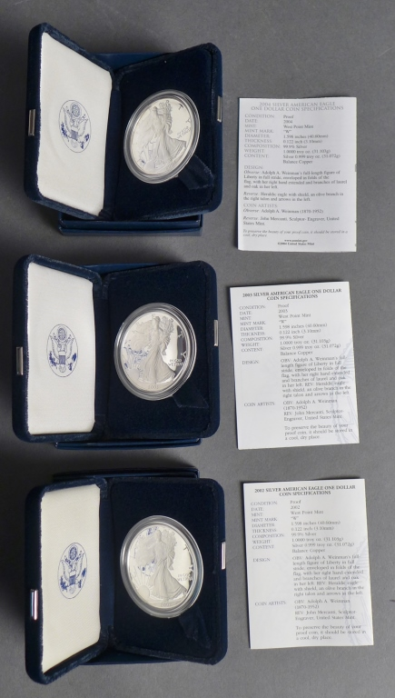 3 Silver American Eagle One Ounce Proof Coins