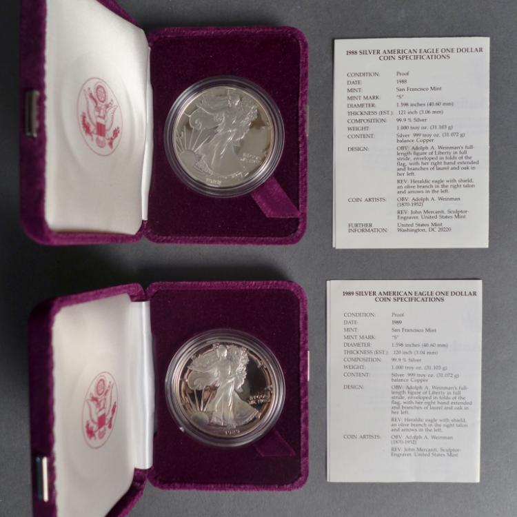 1988 & 1989 Silver American Eagle One Dollar Coins