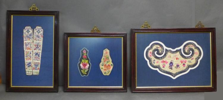 Three Framed Vintage Chinese Silk Embroideries