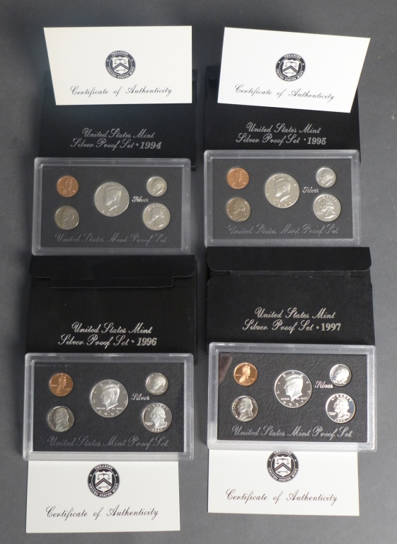 Four US Mint Proof Sets (1994-1997)