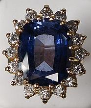 14 kt Synthetic Sapphire and CZ Ring