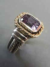 Sterling and 14Kt David Yurman Style Ring