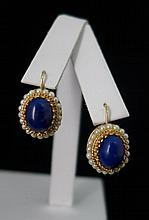 14 kt Gold Pearl, & Lapis Earrings