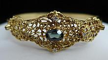 14 kt Gold, Diamond & Tourmaline Bangle Bracelet