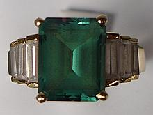 14 kt and Synthetic Emerald and CZ Ring