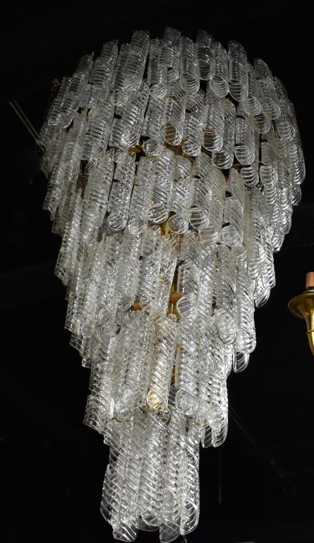 Monumental Tiered Glass Chandelier