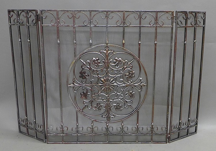iron fireplace screen with center medallion. Black Bedroom Furniture Sets. Home Design Ideas