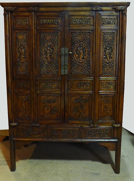 Antique chinese hand carved wood armoire cabinet for Antique asian cabinet