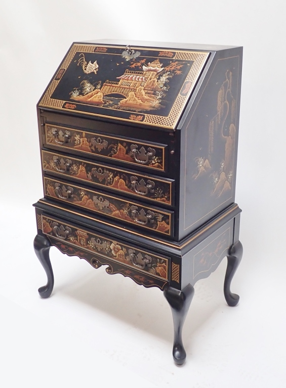 Black Lacquer Chinoiserie Secretary Desk Maddox