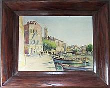 Canal Scene, Signed O/B