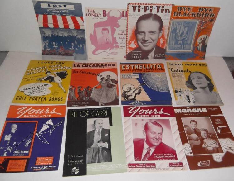12 PIECES SHEET MUSIC LOT MEXICAN SPANISH