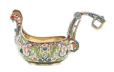 A LARGE SHADED ENAMEL SILVER KOVSH by Feodor