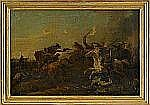 AUGUST QUERFURT Tyskland 1698-1761 Batalj Olja på