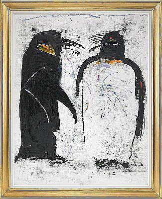 D - MADELEINE PYK född 1934 Pingviner Signerad M.