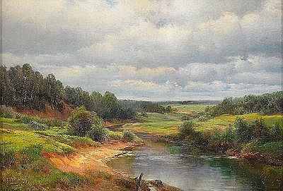 Ivan Avgustovich Veltz 1866-1926 A River Landscape