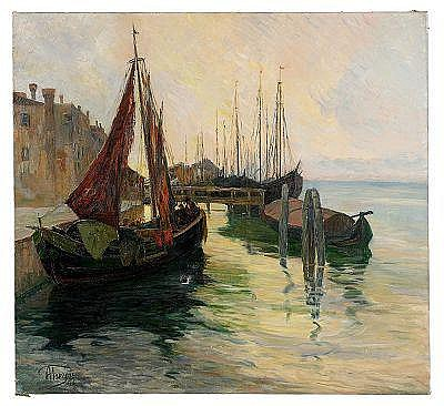 Alexei Vassilievich Hanzen 1876-1937 Barges on the