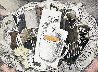 AXEL OLSON 1899-1986 En kopp kaffe Signerad och