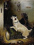 - EDWARD ARMFIELD England 1817-1896 Lekande hundar