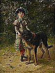 - EDGAR BUNDY England 1862-1922 Flicka med hund