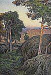 - CHARLOTTE WAHLSTRÖM 1849-1924 Aftonsol, Nynäs -