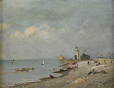 EUGENE BERTHELON Frankrike 1829-1924 Sur la plage