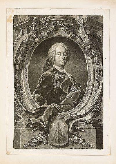 JOHANN JAKOB HAID Tyskland 1704-1767 Porträtt av