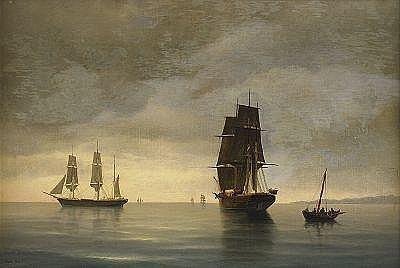 CARL BILLE Danmark 1815 -1898 Segelbåtar i
