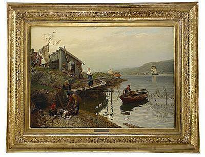 HANS GUDE Norge 1825-1903 Fiskarfamilj vittjar