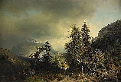 SOPHUS JACOBSEN Norge 1833-1912 Landskap,