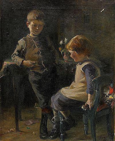 HILMA AF KLINT 1862-1944 Interiör med syskonpar