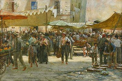 HANS DEITERS Tyskland 1868-1922 Torghandel i