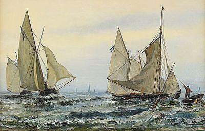 ARVID JOHANSON 1862-1923 Kappsegling Signerad och
