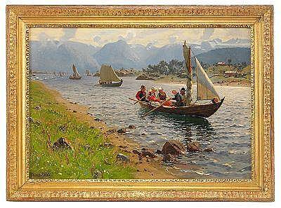 HANS DAHL Norge 1849-1937 Dopfärden Signerad Hans
