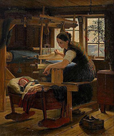 GESKEL SALOMAN 1821-1902 Stuginteriör med kvinna