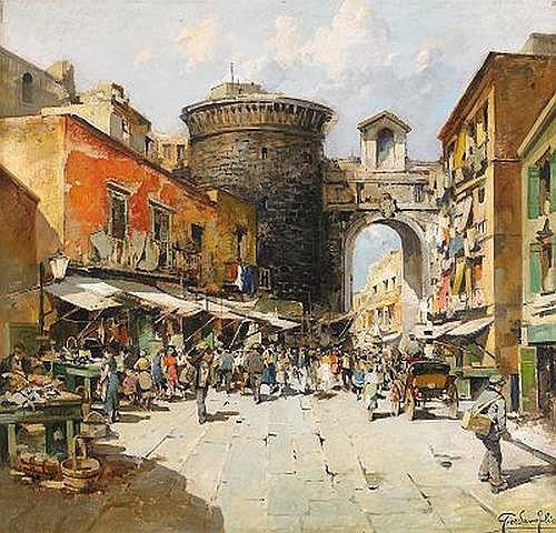 FELICE GIORDANO Italien 1880-1964 Marknadsplats i