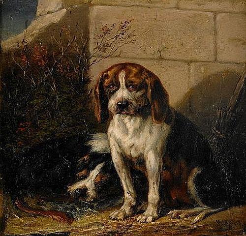 CARL FREDRIK KIORBOE 1799-1876 Overgivna hundar i