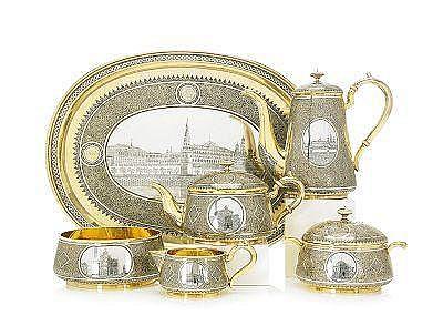 A SILVER-GILT AND NIELLO TEA SERVICE, Pavel