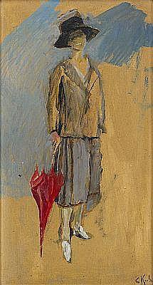 CHRISTIAN KROHG Norge 1852-1925 Kvinna med rött