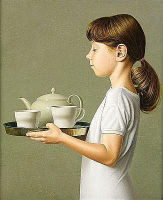 DAVID DENBY USA född 1946 Tea time Signerad och