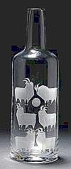 TOM MÖLLER, flaska, Reijmyre, 1960-tal, blästrad