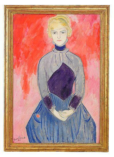 ISAAC GRÜNEWALD 1889-1946 damen i blått signerad