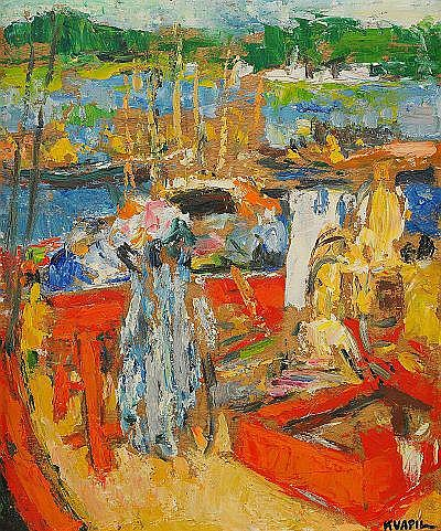 CHARLES KVAPIL Belgien 1884-1957 Hamnmotiv