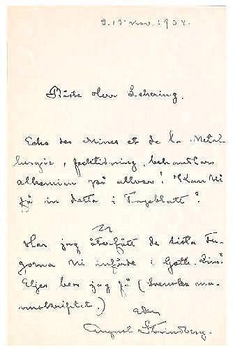 Strindberg, August (1849-1912). Egenh. skrivet o.
