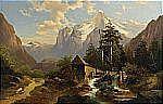 JOSEF THOMA Österrike 1828-1899 Bergigt landskap